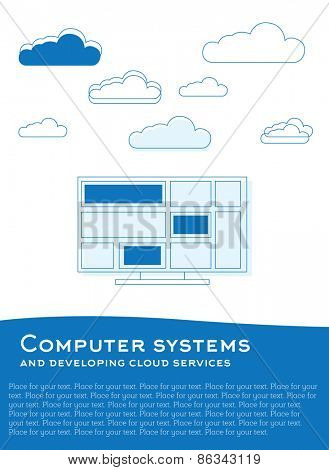 Vector illustration with computer and clouds made from blue lines and plce for text