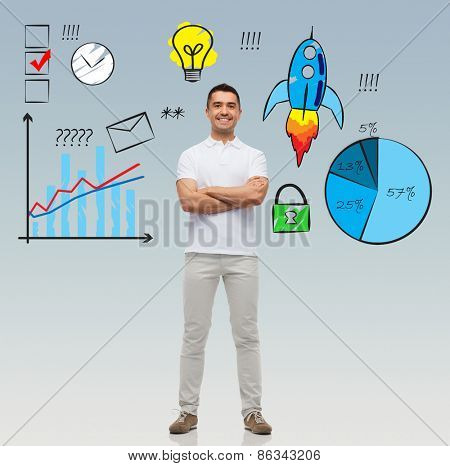 business, development, management and people concept - smiling man with crossed arms over gray background