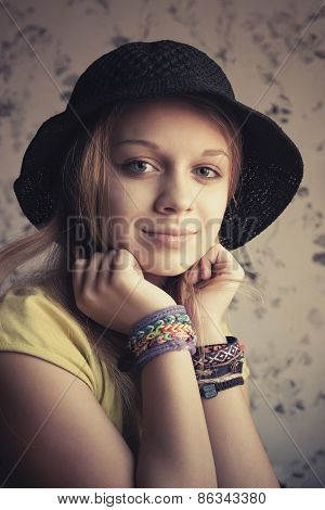 Retro Stylized Portrait Of Beautiful Blond Teenage Girl