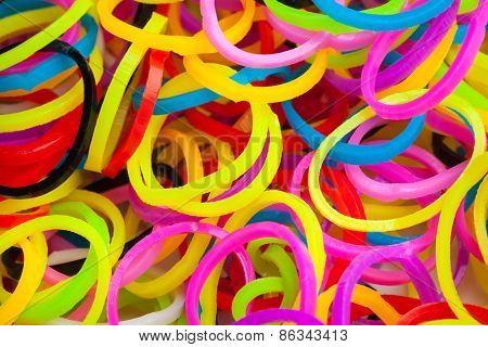 Macro Photo Of Small Round Colorful Rubber Bands