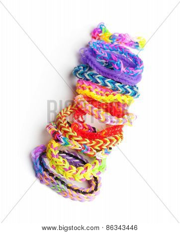 Group Of Colorful Rubber Band Bracelets Isolated On White