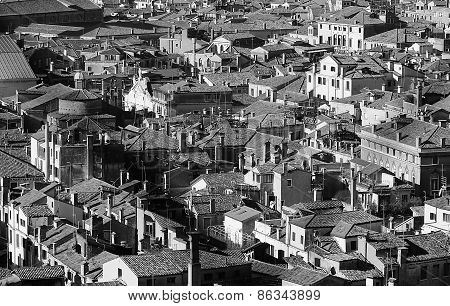Venice, Italy, Many Houses Seen From The Campanile Di San Marco
