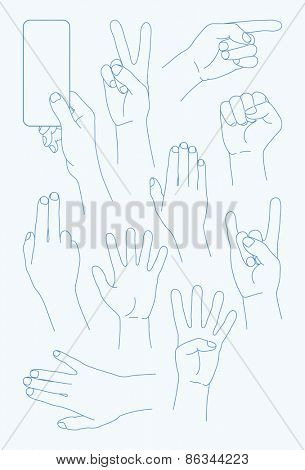vector set Hands Icons - Illustration -   100% vector shape.  Fully editable in Illustrator. All items are well organized and layered. Background texture are included in vector shape.