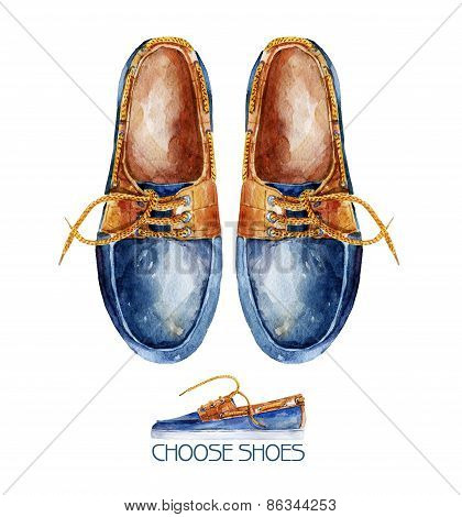 Watercolor illustration with pair of shoes.
