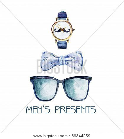 Watercolor illustration with bow tie, glasses and watches.