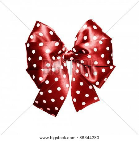 dark red bow with white polka dots made from silk isolated