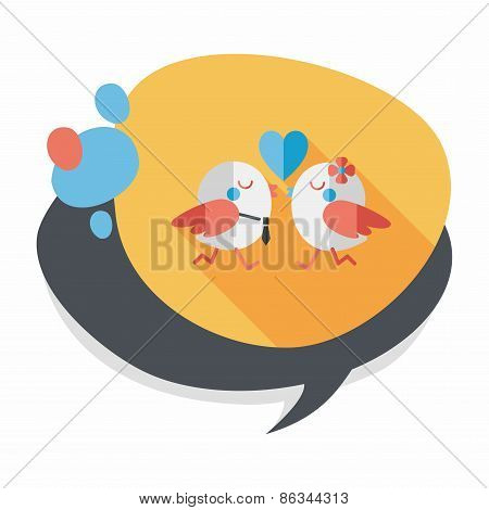 Valentine's Day Lover Bird Flat Icon With Long Shadow,eps10