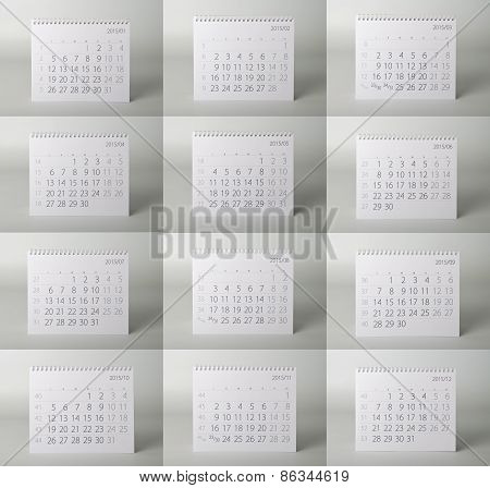 Calendar. Two thousand fifteen year calendar.