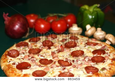 Vegetable And Pepperoni Pizza