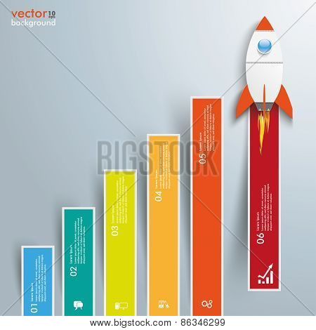Chart Growth Colored Bars Rocket