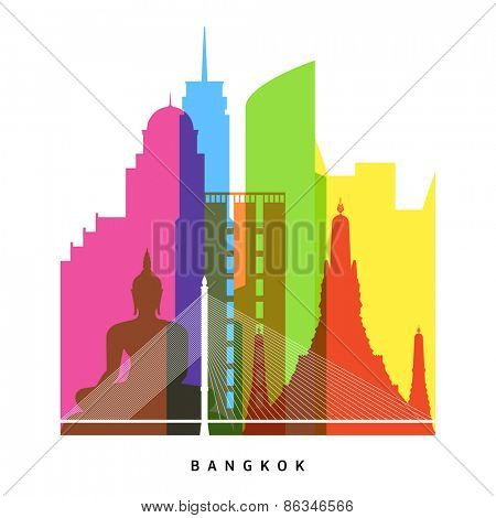 Bangkok landmarks bright collage with baiyoke tower, state tower, the met, centara grand at centralworld, rama viii bridge, wat arun and others vector illustration