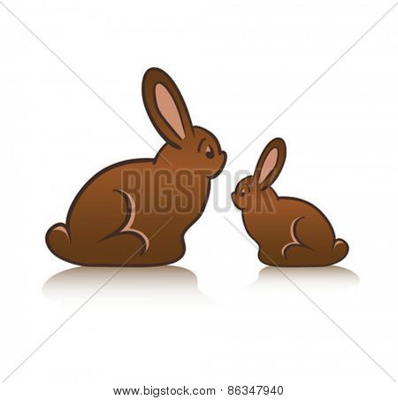 Digitally generated Chocolate rabbits on white background