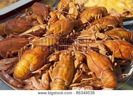 Dish Of Boiled Crawfish Closeup