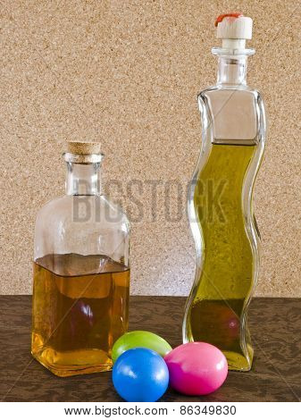 Colored eggs and liqueurs
