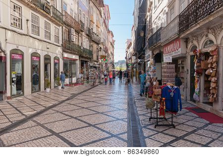 Ferreira Borges Street In Downtown Coimbra