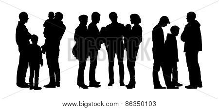 People Talking To Each Other Silhouettes Set 4