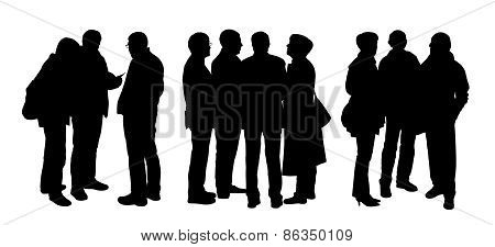 People Talking To Each Other Silhouettes Set 5