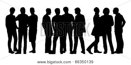 People Talking To Each Other Silhouettes Set 8