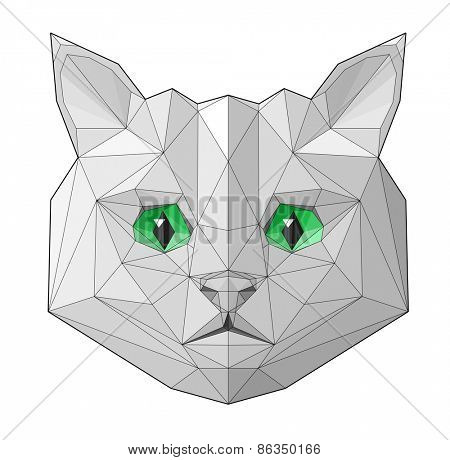 Cat. Low polygon linear vector illustration