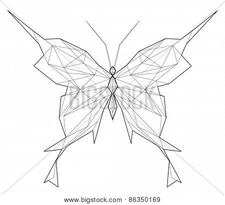Butterfly. Low polygon linear vector illustration