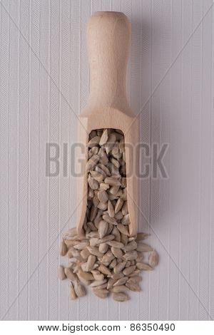 Wooden Scoop With Shelled Sunflower Seeds