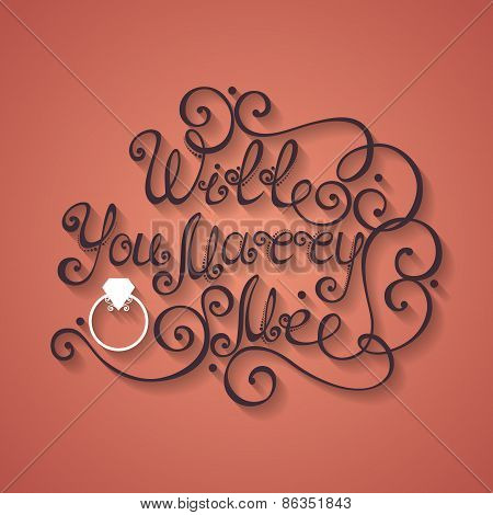 Vector Will You Marry Me Inscription, St. Valentine's Day Symbol, Wedding