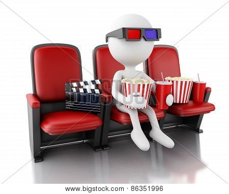 3d white people with clapper board, popcorn and drink.