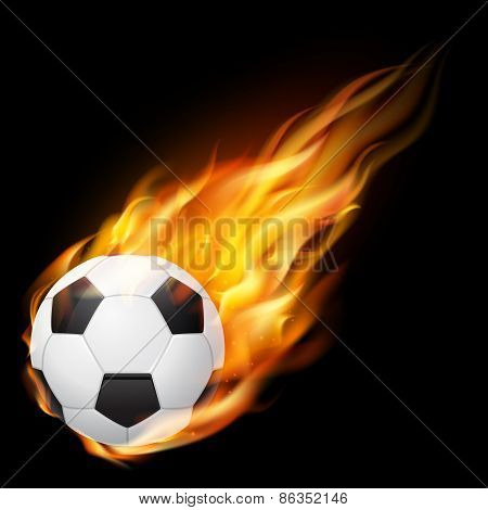 Flying soccer ball on fire - falling down