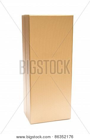 Closed Golden Box On A White Background