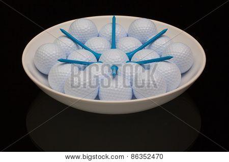 White Ceramic Bowl Full Of Golf Balls