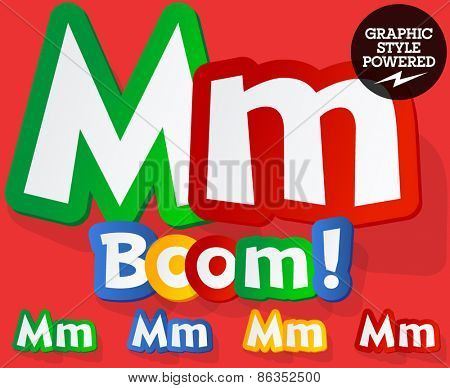 Vector set of bright colorful alphabet for children. Playful sticker font. Letter M