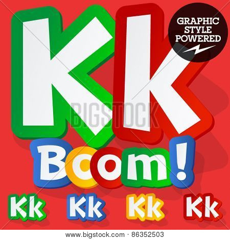 Vector set of bright colorful alphabet for children. Playful sticker font. Letter K