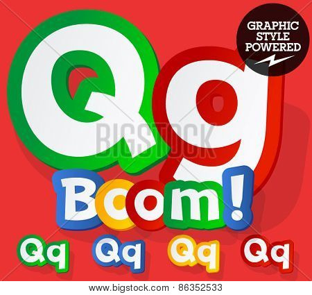 Vector set of bright colorful alphabet for children. Playful sticker font. Letter Q