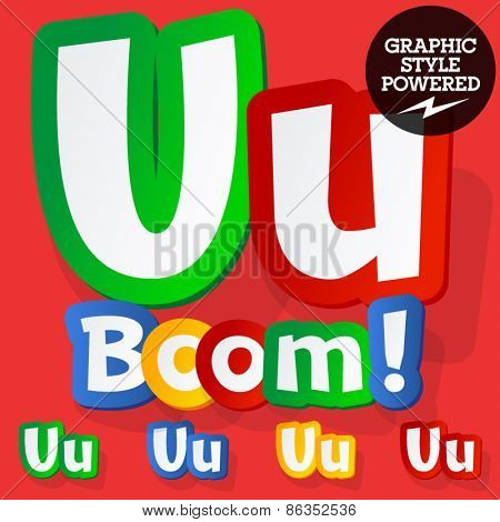 Vector set of bright colorful alphabet for children. Playful sticker font. Letter U