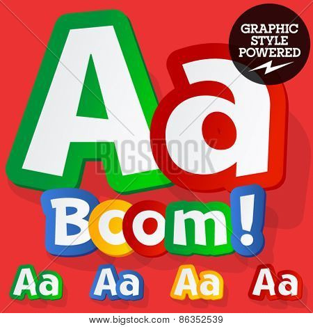 Vector set of bright colorful alphabet for children. Playful sticker font. Letter A