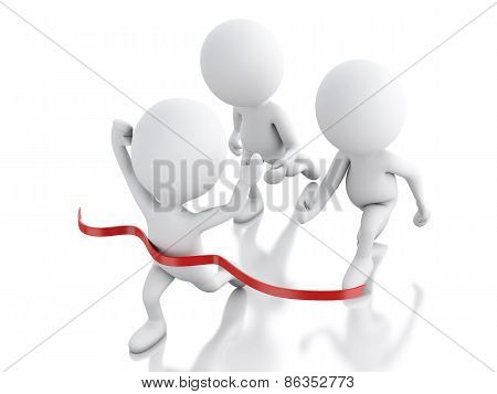 3d white people crossing the finishing line. Succes concept