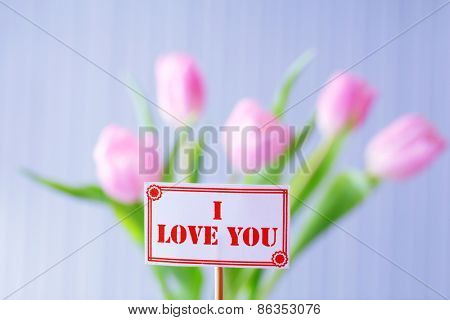 Tag with beautiful pink tulips on light background