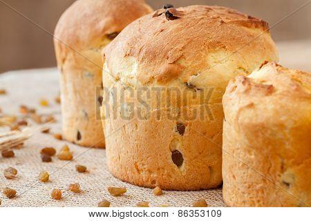 Tasty Homemade Panettone Easter Cake Sweet Dessert Bread With Raisins On Textile