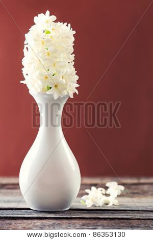 Beautiful white hyacinth flower in vase on table on brown background