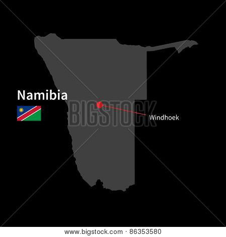 Detailed map of Namibia and capital city Windhoek with flag on black background