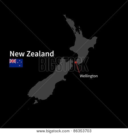Detailed map of New Zealand and capital city Wellington with flag on black background