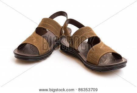 Pair Of Brown Leisure Sandal On White Background