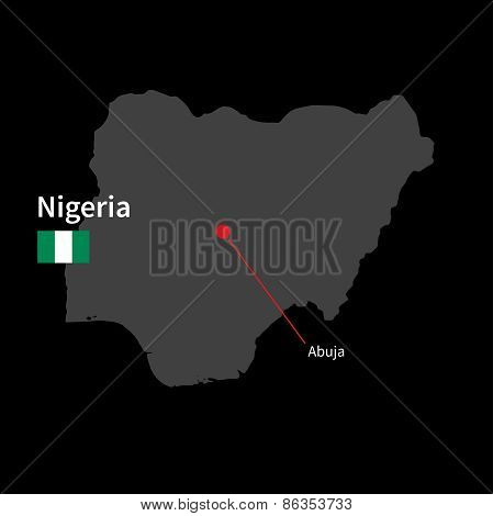 Detailed map of Nigeria and capital city Abuja with flag on black background