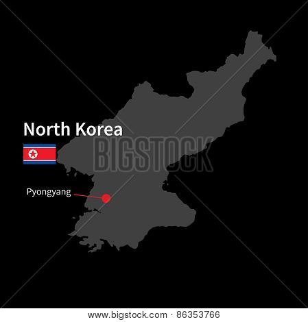 Detailed map of North Korea and capital city Pyongyang with flag on black background