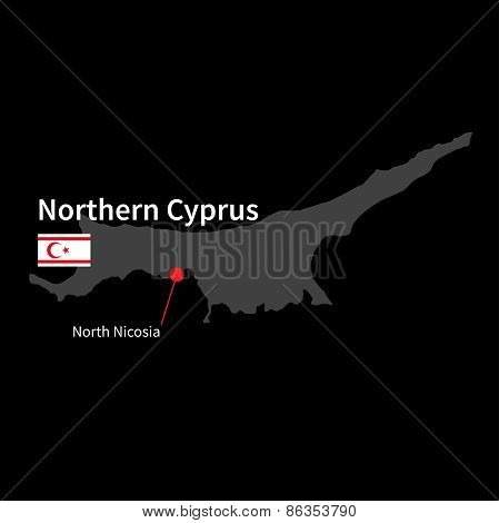Detailed map of Northern Cyprus and capital city North Nicosia with flag on black background