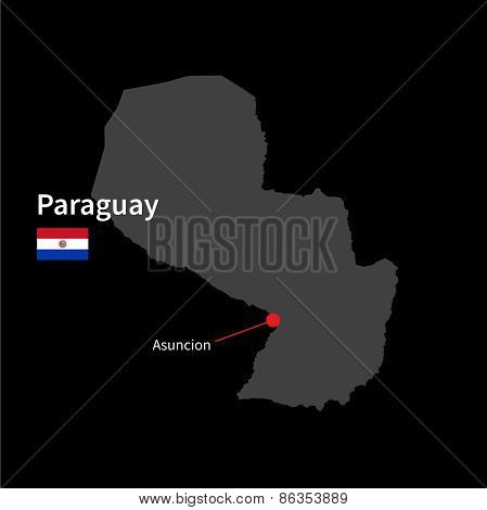 Detailed map of Paraguay and capital city Asuncion with flag on black background