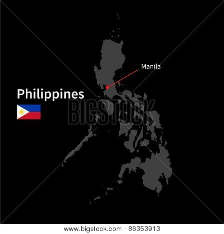 Detailed map of Philippines and capital city Manila with flag on black background