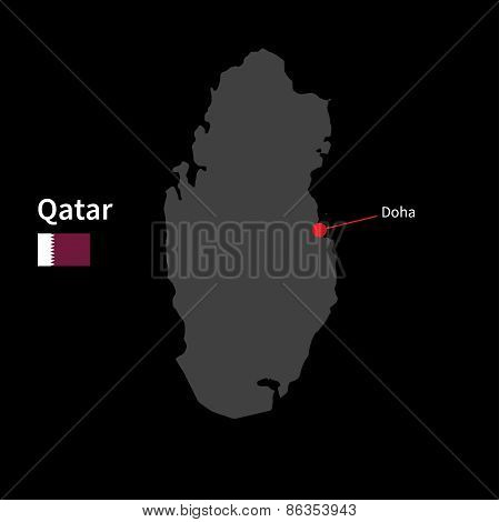Detailed map of Qatar and capital city Doha with flag on black background