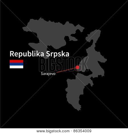Detailed map of Republika Srpska and capital city Sarajevo with flag on black background