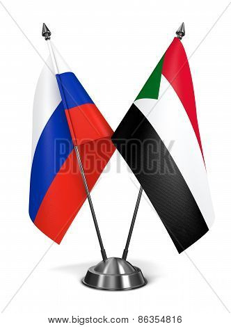 Russia and Sudan - Miniature Flags.